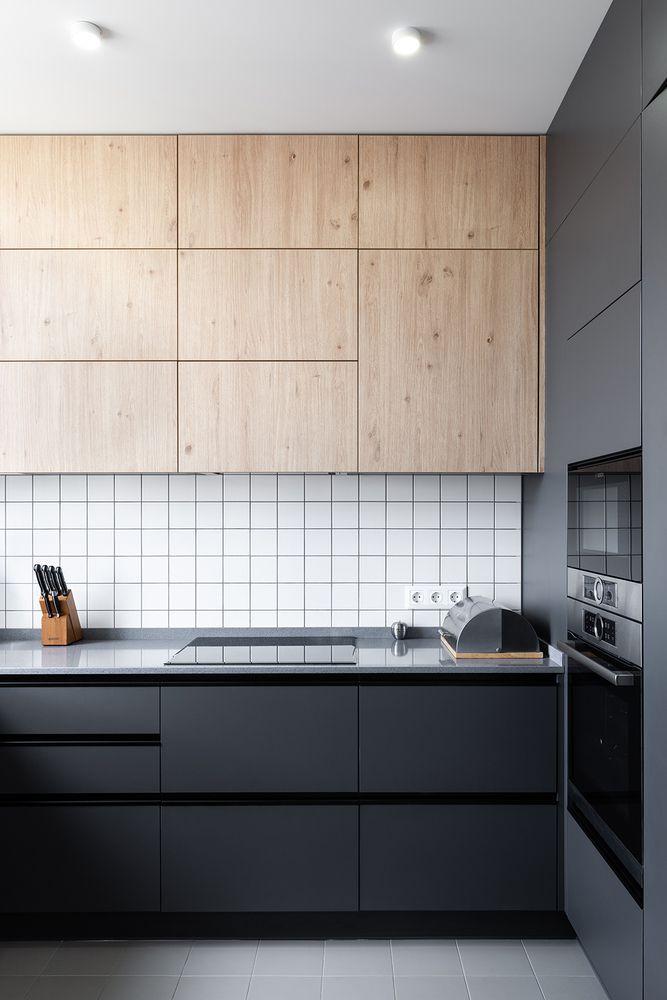 Không gian bếp được thiết kế đơn sắc