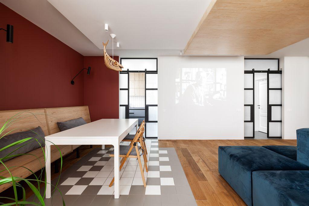 Tầng một thiết kế phòng khách và phòng ăn